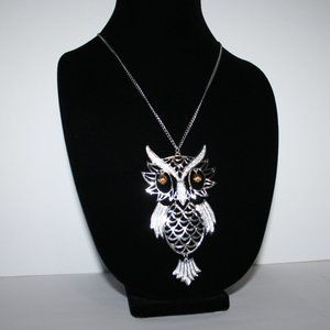 Beautiful silver and gold owl necklace 24""